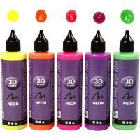 3D-liner, neonfärger, 5x100 ml/ 1 förp.