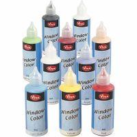 Fönsterfärg, mixade färger, 10x80 ml/ 1 förp.