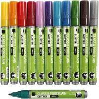 Glas- och porslinstusch, spets 2-4 mm, semi opaque, mixade färger, 12 st./ 1 förp.