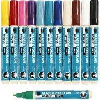 Porslin- och glaspenna, spets 2-4 mm, täckande, mixade färger, 12 st./ 1 förp.