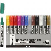 Glas- och porslinstusch, spets 1-2 mm, semi opaque, mixade färger, 12 st./ 1 förp.
