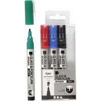 Glas- och porslinstusch, spets 1-2 mm, semi opaque, svart, blå, grön, röd, 4 st./ 1 förp.