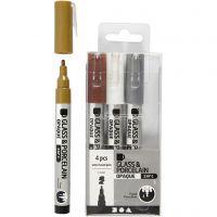 Glas- och porslinstusch, spets 1-2 mm, semi opaque, brun, guld, silver, vit, 4 st./ 1 förp.