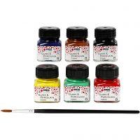 Glas och porslinsfärg, mixade färger, 6x20 ml/ 1 förp.