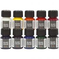 Glasfärg transparent, mixade färger, 10x30 ml/ 1 förp.