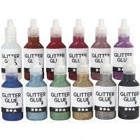 Glitterlim, mixade färger, 12x25 ml/ 1 förp.