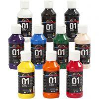 Skolfärg akryl, blank, blank, mixade färger, 10x100 ml/ 1 förp.