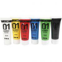 Skolfärg akryl, blank, blank, standardfärger, 6x20 ml/ 1 förp.