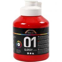 Skolfärg akryl, blank, blank, röd, 500 ml/ 1 flaska