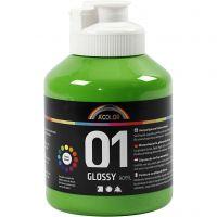 Skolfärg akryl, blank, blank, ljusgrön, 500 ml/ 1 flaska