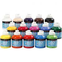 Skolfärg, akryl, matt, matt, mixade färger, 15x500 ml/ 1 låda