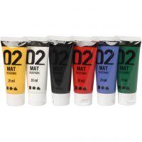 Skolfärg, akryl, matt, matt, standardfärger, 6x20 ml/ 1 förp.