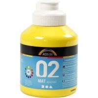 Skolfärg, akryl, matt, matt, primärgul, 500 ml/ 1 flaska