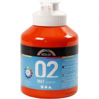 Skolfärg, akryl, matt, matt, orange, 500 ml/ 1 flaska