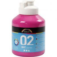 Skolfärg, akryl, matt, matt, rosa, 500 ml/ 1 flaska