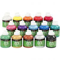 Skolfärg akryl, metallic, metallic, mixade färger, 15x500 ml/ 1 låda