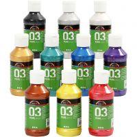 Skolfärg akryl, metallic, metallic, mixade färger, 10x120 ml/ 1 förp.