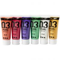Skolfärg akryl, metallic, metallic, kompletterande färger, 6x20 ml/ 1 förp.