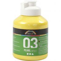 Skolfärg akryl, metallic, metallic, gul, 500 ml/ 1 flaska
