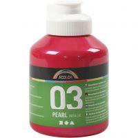 Skolfärg akryl, metallic, metallic, rosa, 500 ml/ 1 flaska