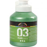 Skolfärg akryl, metallic, metallic, ljusgrön, 500 ml/ 1 flaska