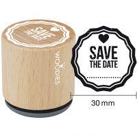 Trästämpel, Save the date , H: 35 mm, Dia. 30 mm, 1 st.