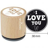 Trästämpel, I love you , H: 35 mm, Dia. 30 mm, 1 st.