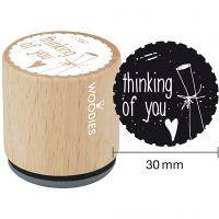 Trästämpel, thinking of you, H: 35 mm, Dia. 30 mm, 1 st.