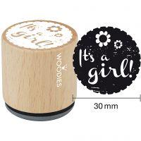 Trästämpel, It's a girl , H: 35 mm, Dia. 30 mm, 1 st.