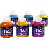 Skolfärg akryl, glitter, glitter, mixade färger, 6x500 ml/ 1 låda