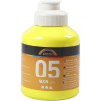 Skolfärg akryl, neon, neongul, 500 ml/ 1 flaska