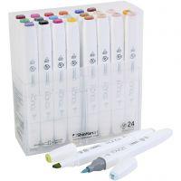 Touch Twin konstnärstuschpennor, mixade färger, 24 st./ 1 förp.
