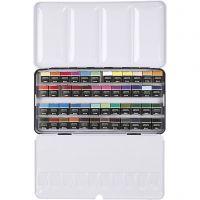Art Aqua akvarellfärger, ½-pan, stl. 10x20 mm, mixade färger, 48 färg/ 1 förp.