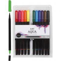 Akvarelltusch, spets 2+4-8 mm, standardfärger, 12 st./ 1 förp.