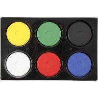 Vattenfärg, H: 16 mm, Dia. 44 mm, primärfärger, 1 set