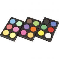 Vattenfärg, H: 16 mm, Dia. 44 mm, neonfärger, kompletterande färger, 1 set
