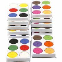 Vattenfärg, H: 19 mm, Dia. 57 mm, primärröd, kompletterande färger, 12 brickor/ 1 förp.