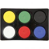 Vattenfärg, H: 19 mm, Dia. 57 mm, primärfärger, 1 set