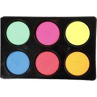 Vattenfärg, H: 16 mm, Dia. 44 mm, neonfärger, 1 set