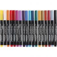 Textilpennor, spets 2-3 mm, mixade färger, 18 st./ 1 förp.