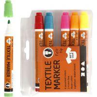 Textilpennor, spets 2-4 mm, neonfärger, 6 st./ 1 förp.