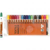Textilpennor, spets 2-4 mm, mixade färger, 18 st./ 1 förp.