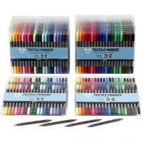 Textiltusch, spets 2,3+3,6 mm, standardfärger, kompletterande färger, 24x20 st./ 1 förp.