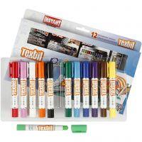 Playcolor Textilfärg, L: 14 cm, mixade färger, 12 st./ 1 förp., 5 g