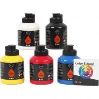 Pigment Art School, primärfärger, 5x500 ml/ 1 förp.
