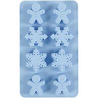 Silikonform, snöflingor och pepparkaksgubbar, H: 2,5 cm, L: 24 cm, B: 14 cm, Hålstl. 30x45 mm, 12,5 ml, 1 st./ 1 förp.