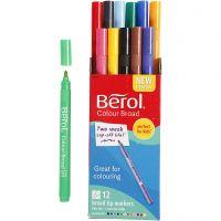 Berol Tusch, Dia. 10 mm, spets 1-1,7 mm, mixade färger, 12 st./ 1 förp.