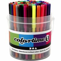 Colortime tuschpennor, spets 2 mm, mixade färger, 100 st./ 1 hink