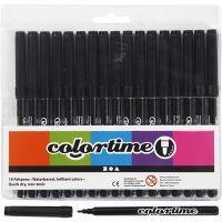 Colortime tuschpennor, spets 2 mm, svart, 18 st./ 1 förp.