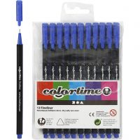 Colortime Fineliner Tusch, spets 0,6-0,7 mm, mörkblå, 12 st./ 1 förp.